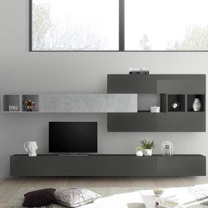 MEUBLE TV Meuble tele mural gris laqué et gris béton BOLCA G