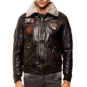 BLOUSON Blouson Cuir Homme Arturo aviator marron Couleur -