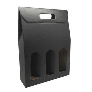 COFFRET SOMMELIER CLASSWINE Etui carton noir à fenêtre pour 3 boutei