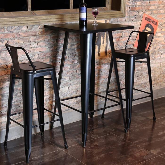 FIRNOSE Table de Bistro Table Haute de Bar Table à manger - Style industriel - Intérieur et Extérieur 60x 60 x 103 cm Noir