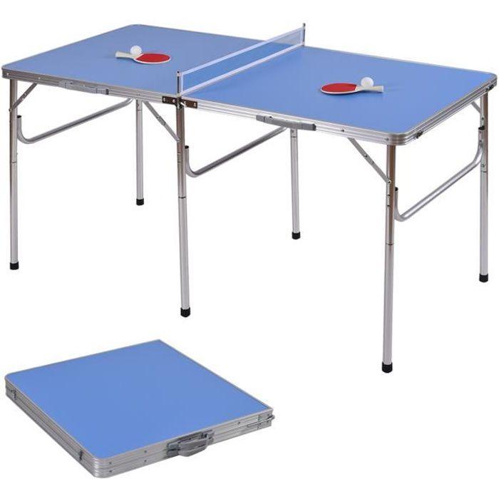 Table de Ping-Pong Pliant avec 2 Balles et 2 Raquettes Portable Dimension : 152,4 x72 x 72 cm pour Intérieur et Extérieur