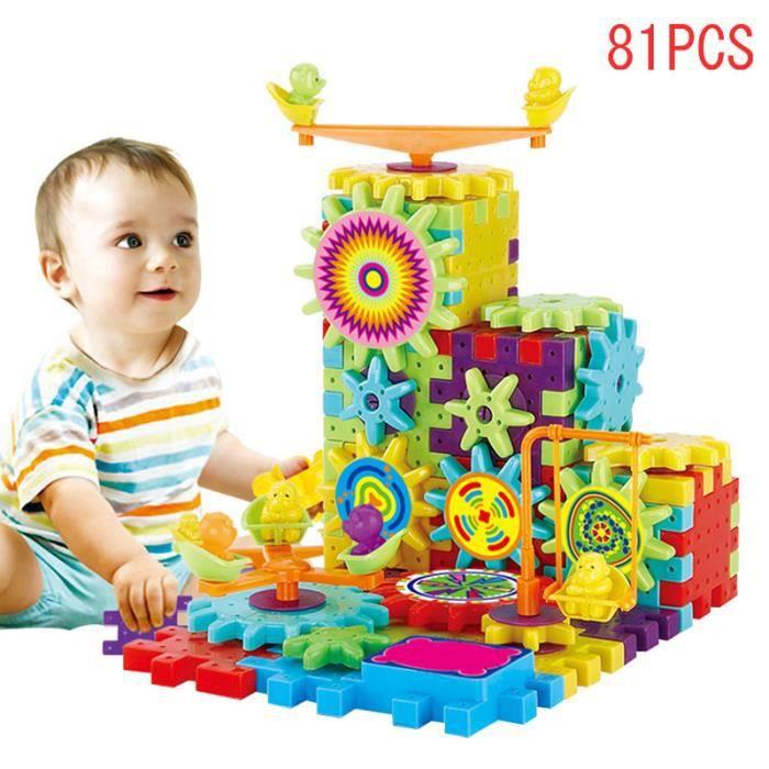 81 Pcs Blocs de construction En Plastique Électrique Engrenages 3D Puzzle Jouets Pour Enfants