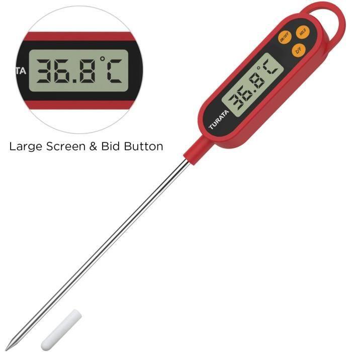 Thermomètre de Cuisine Thérmo-sonde Thermomètre Cuisson Thermometre à Viande, Lecture Instantanée 5 Secondes Écran LCD thermomètre