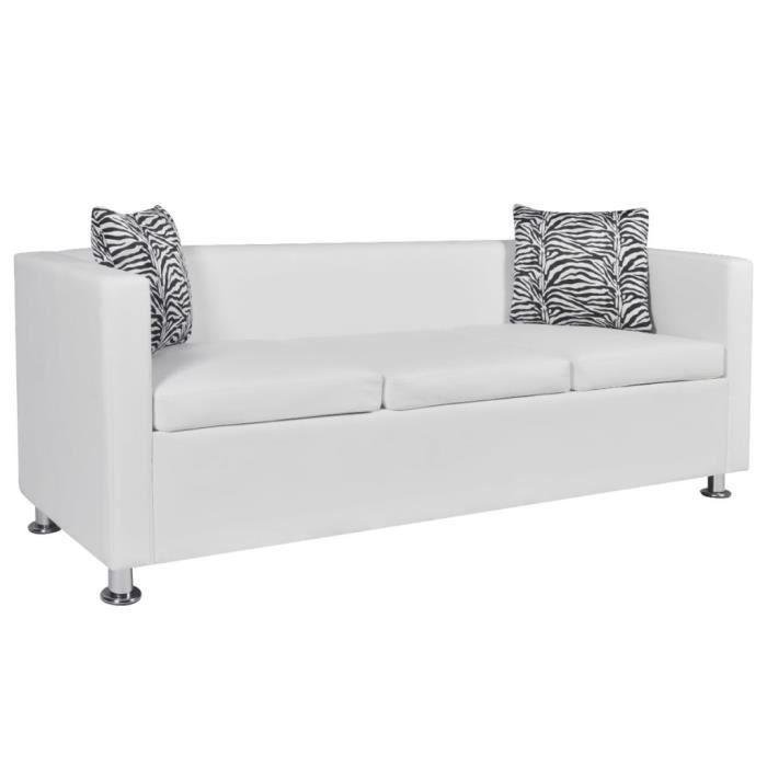 1692RAVI Canapé droit fixe 3 places Canapé de relaxation DE Haute qualité Sofa DE salon Scandinave Cuir synthétique Blanc