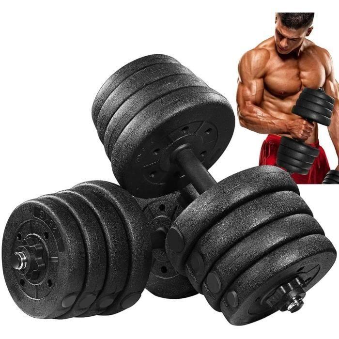 MOVTOTOP - 2 en 1 Haltère 30kg poids ajustables - (4 x 2.5 kg / 2 kg / 1.5kg / 1.25kg) - poids musculation