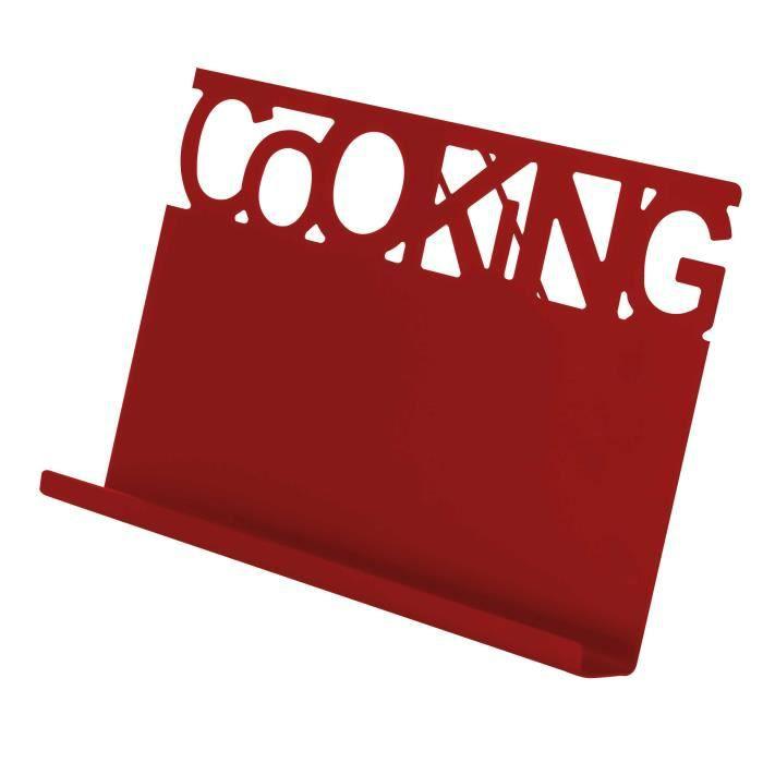 Support pour livre - tablette 'Cooking' en acier inoxydable - Rouge - 30x20x5cm