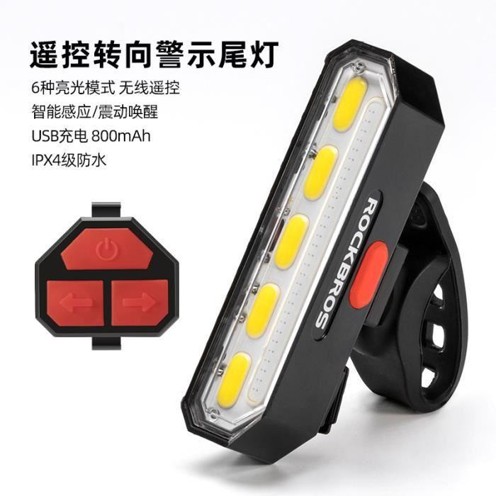 Locke Brothers feu de vélo feu arrière intelligent télécommande sans fil clignotant avertissement équipement le noir -ZXCDFJFK496