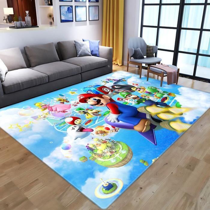 JIG-6619 Tapis de jeu pour enfants, contrôleur de jeu animé, tapis de sol, motif Super Mario, impression 3D, pour salon