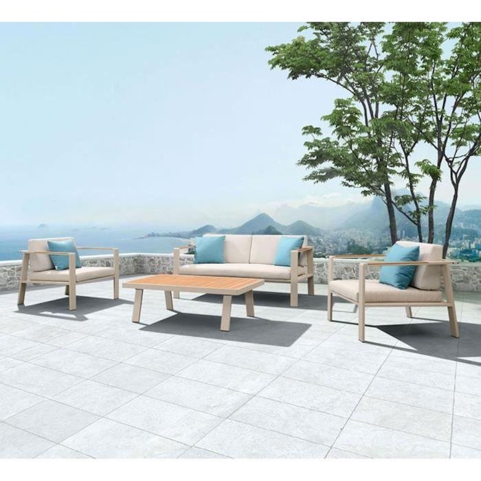 Salon bas de jardin haut de gamme aluminium et teck NOFI 4 places