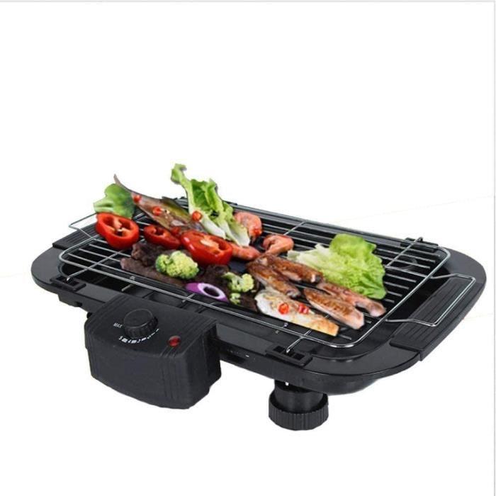 GRILL ELECTRIQUE Grill &Eacutelectrique Int&eacuterieur Sans Fum&eacutee avec Plaque de Plaque Amovible Portable Barbecue Cor243