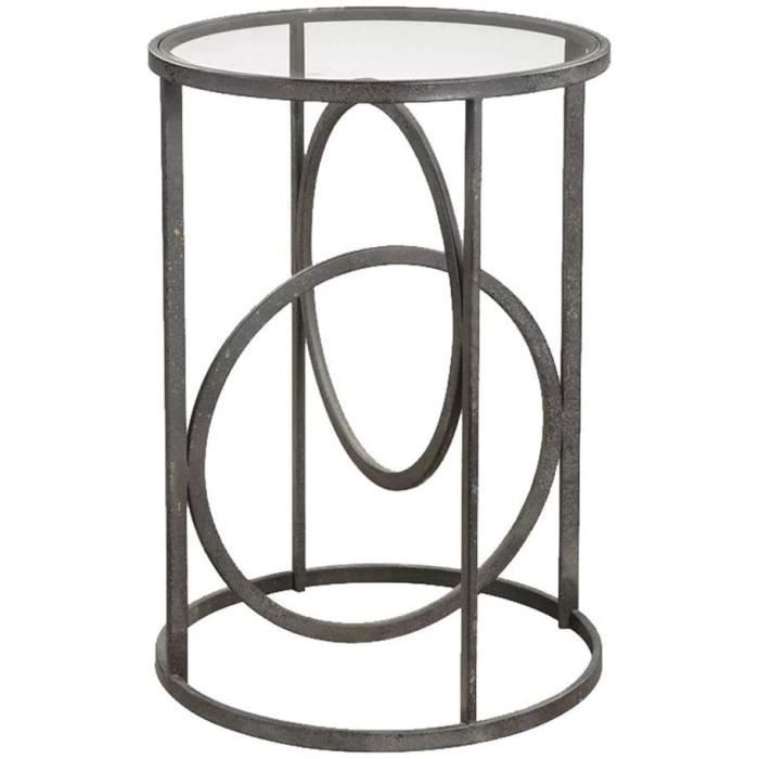 Tables basses Coffee Table Nordic Simple Table Basse en Fer Forg&eacute Canap&eacute Table d'angle Mini Table Ronde Verre Trem70