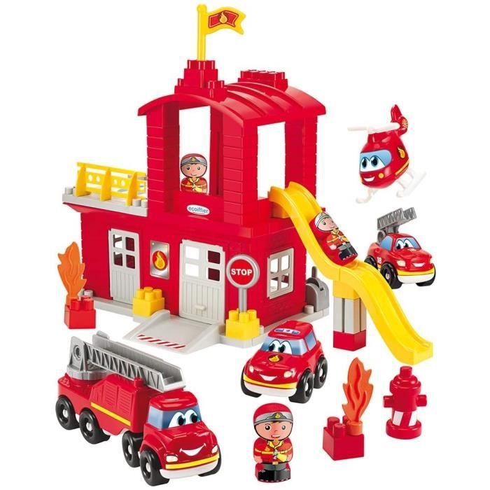 VEHICULE A CONSTRUIRE ENGIN TERRESTRE A CONSTRUIREJouets Ecoiffier -3026 - Grande caserne de pompiers Abrick – Jeu de construc414