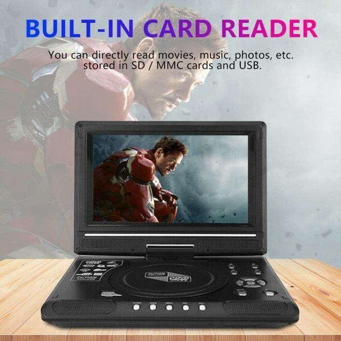 9,8 pouces Portable HD TV DVD Player 16: 9 LCD 270 ° Rotating Screen 240V+Game Joystick