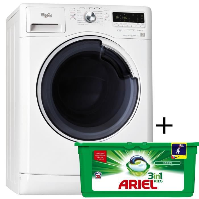PACK lavage WHIRLPOOL AW?41048 - Lave-linge frontal - 10 kg - 1400 tours / min - A+++ - Moteur induction + ARIEL PODS LESSIVE