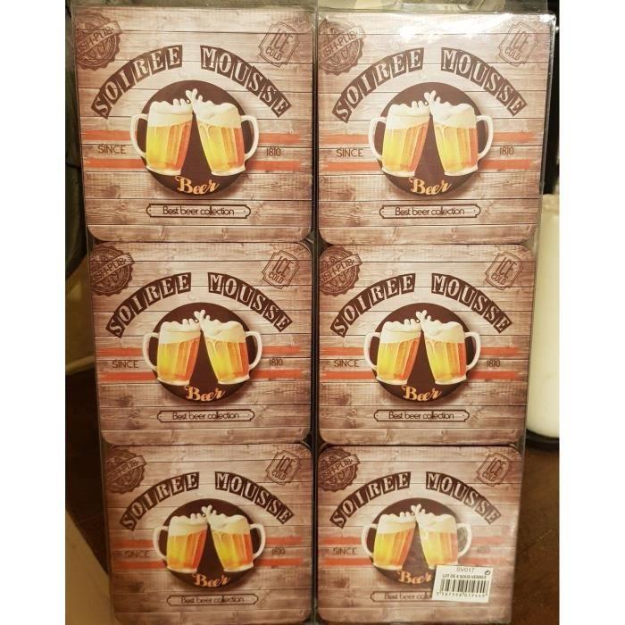 lot de 6 dessous de verres -bieres soirée mousse-