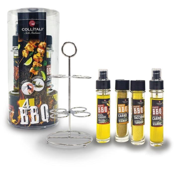 COLLITALI QUATTRO BBQ : spray huile olive romarin 30 ml, huile olive citron 30 ml, poivrière 17 g, salière / poivre fumé bois 40 g.