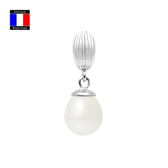 Compagnie Générale des Perles - Pendentif - Véritable Perle de Culture Poire 9-10 mm - Or Blanc 18 Carats - Bijou Femme