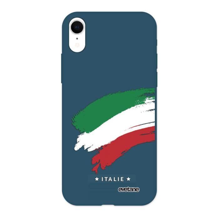 Coque iPhone Xr Silicone Liquide Douce bleu marine Italie Ecriture Tendance et Design Evetane.