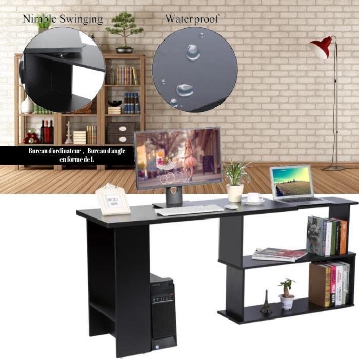 MIL Table D'angle en forme L Économiseur d'espace Rotatif à 360 Station de travail noir -PT3