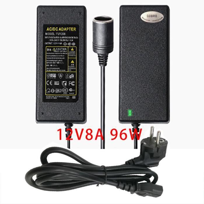 Adaptateur Convertisseur Allume Cigare vers Secteur 220V/12V 8A 96W