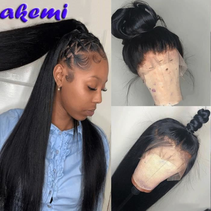 Perruque Lace Wig 360 naturelle brésilienne lisse naissance des cheveux naturelle 18 Pouces pour femmes