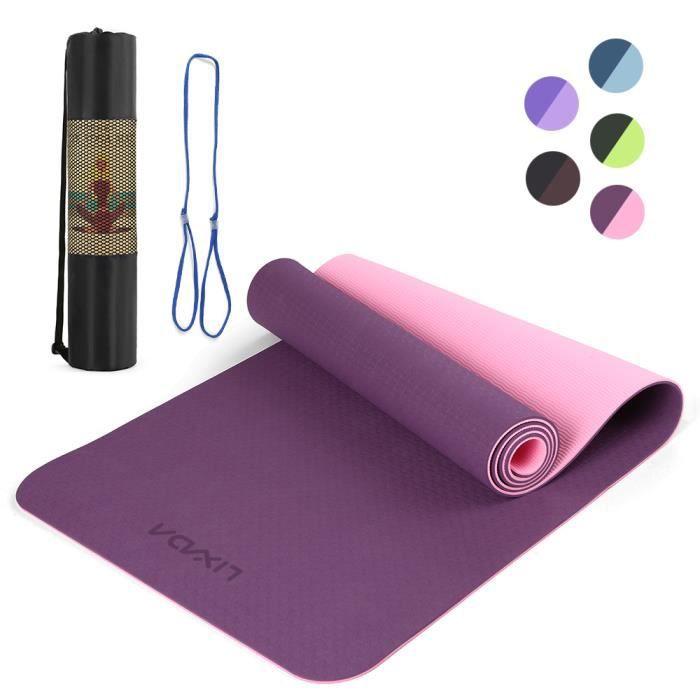 Lixada 72.05 × 24.01in Portable Double Dual-colour Yoga Mat Thicken Sports Mat Tapis d'exercice antidérapant pour les entraînem-745