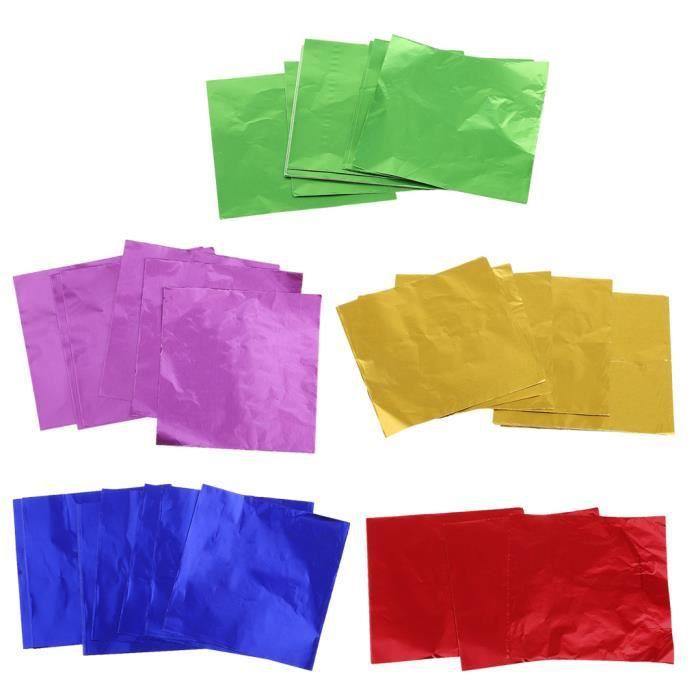 Lot De 500x Emballages En Feuilles Papier Aluminium Carré Bonbon Chocolat Décor DIY 8x8cm SUNNIMIX