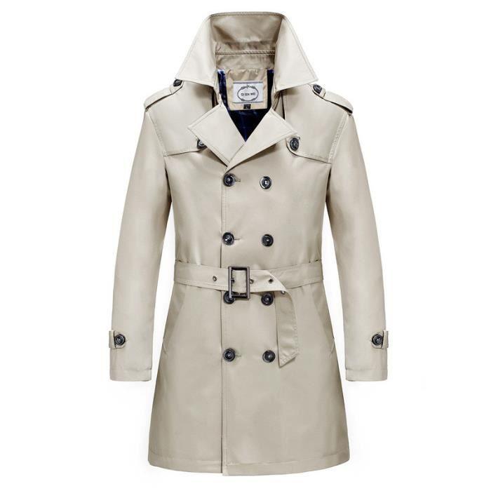 Trench homme long de Marque Trench-coat slim printemps et automne décontracté Grand format XXXL à double boutonnage manteau