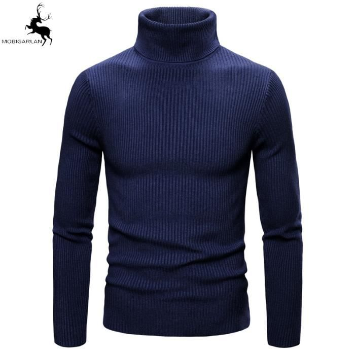 Pull Homme Automne Hiver Chaud Pull à maille Couleur unie Slim à Col montant Pull Marque Homme Pull - CW3005Y -8 Couleur Pull