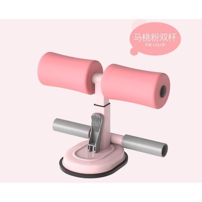 Sit-Up Bar Aid-Accessoires Portable Double Ventouse Avec Cheville Rembourrée Abdominaux Fitness Aid - Rose Clair