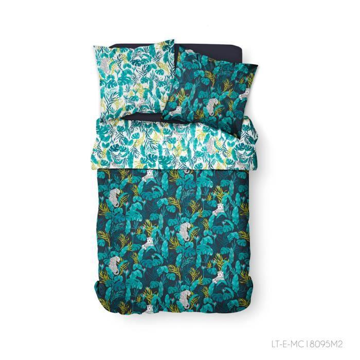 TODAY Parure de couette 100 % Coton 240x260cm SUNSHINE #3.38 - Bleu et vert