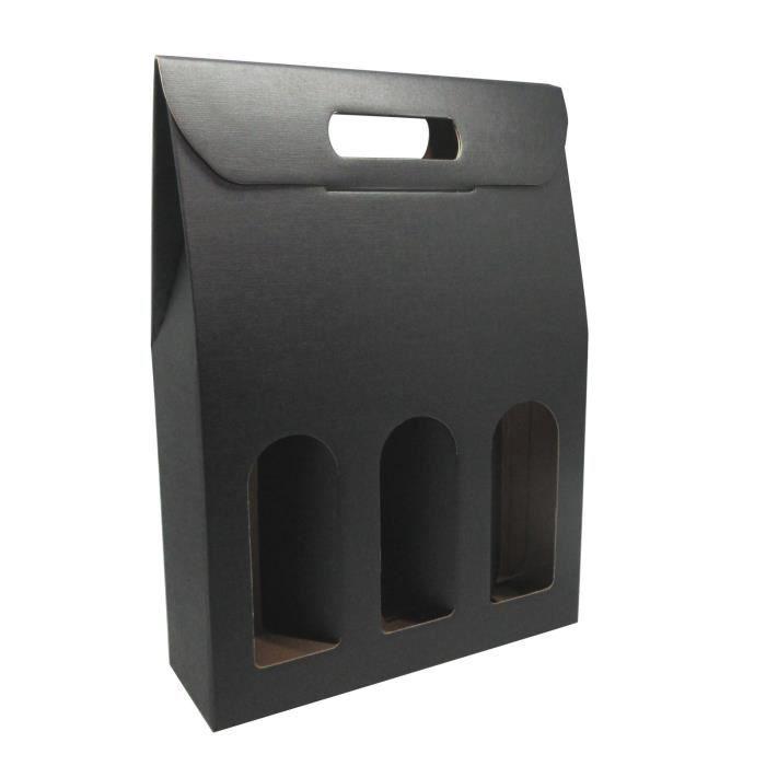 CLASSWINE Etui carton noir à fenêtre pour 3 bouteilles