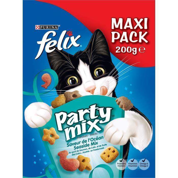 FELIX Party Mix - Saveur de L'Océan : saumon, colin et truite - Pour chat - 200 g