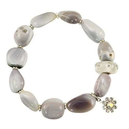 Womens Polished Botswana Agate Stones With Resin Cz Clear Accent Bead - Stretch Bracelet TO3CN