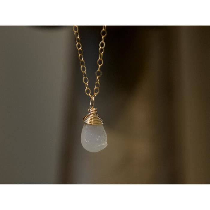 Womens White Druzy Teardrop Gemstone Necklace -18 Length JAUC3