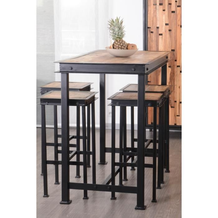pack table haute 4 tabourets m tal et bois 120x70cm ipn. Black Bedroom Furniture Sets. Home Design Ideas