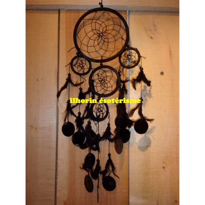 Attrape reves noir 5 cercles dreamcatcher capteur de for Attrape moucheron maison
