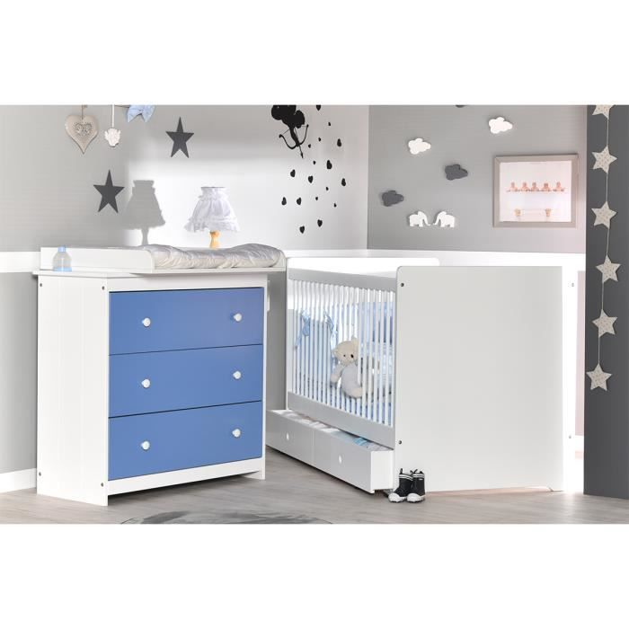 chambre b b compl te volutive bleu lavande et blanc. Black Bedroom Furniture Sets. Home Design Ideas