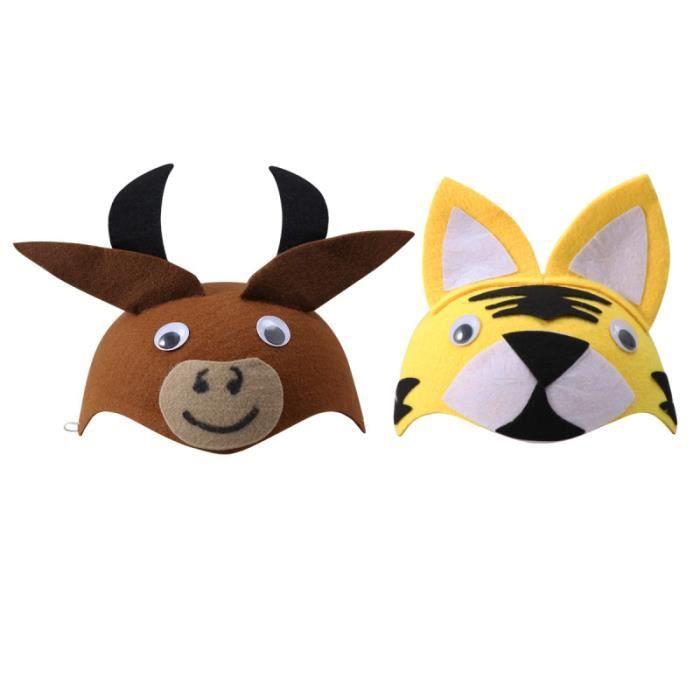 2 Pieces Bœuf Et Tigre Chapeaux Adorable Dessin Anime Casquette Decor Animal Chapeau Capuche Pour Cosplay Deguisement Perruque Achat Vente Chapeau Perruque Cdiscount