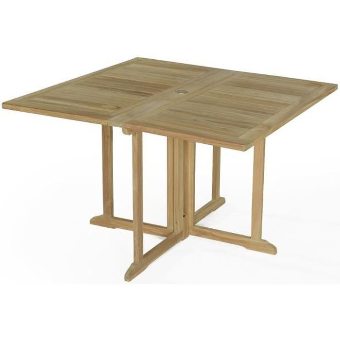 Table pliante carr e en teck ecograde goa 120 x 120 cm - Table pliante teck ...