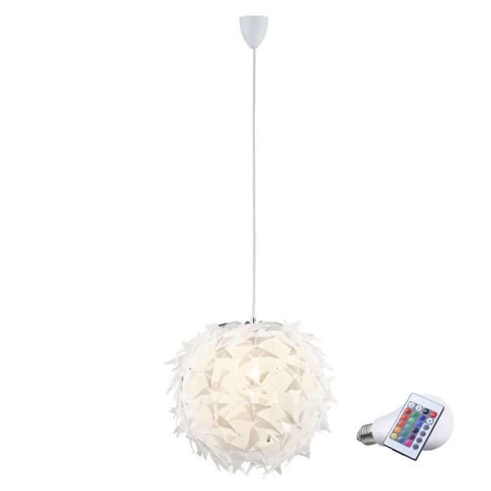 suspension lustre led rvb boule clairage lampe del t l commande salle de s jour achat vente. Black Bedroom Furniture Sets. Home Design Ideas