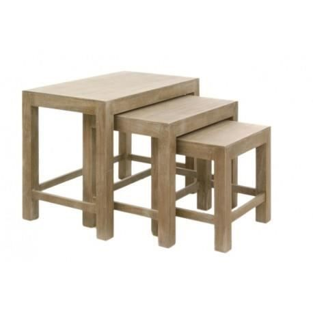 set de 3 tables gigognes rectangle bois naturel achat. Black Bedroom Furniture Sets. Home Design Ideas