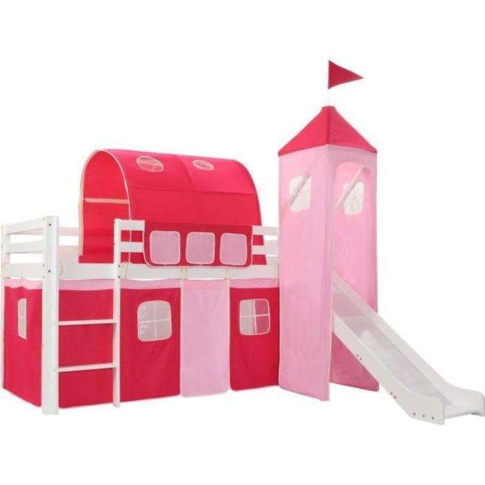 LIT MEZZANINE 282710 Lit mezzanine d'enfants avec toboggan et éc