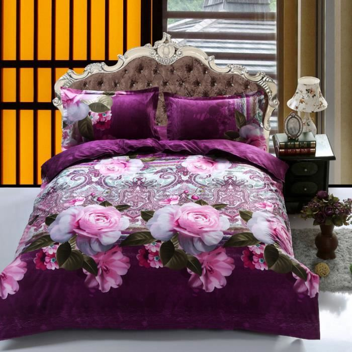 housse de couette fleur rose achat vente housse de. Black Bedroom Furniture Sets. Home Design Ideas