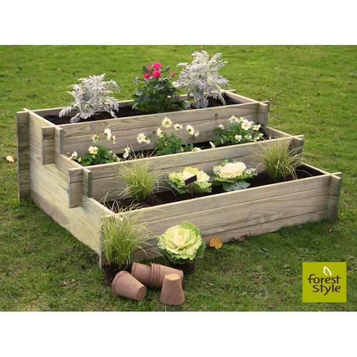 carr potager en bois jardinage enfant paquerette 80x60x36cm achat vente jardini re pot. Black Bedroom Furniture Sets. Home Design Ideas