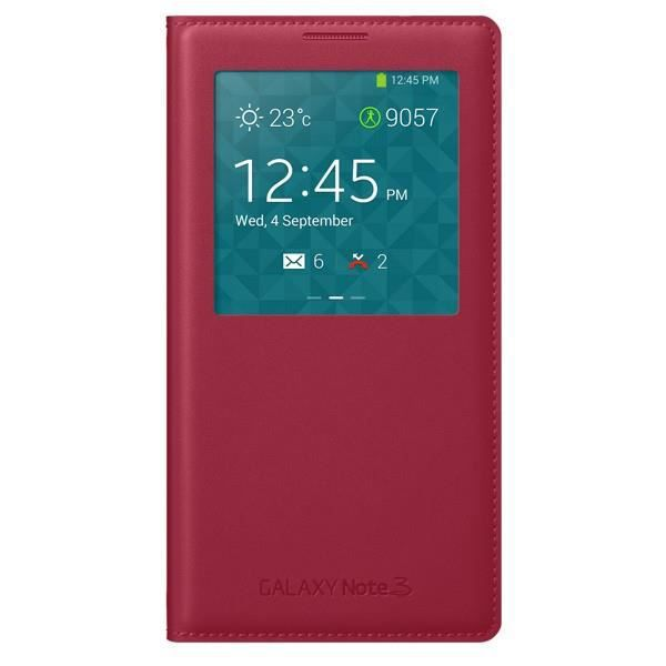 COQUE - BUMPER Flip Cover View Samsung Galaxy NOTE 3 N9000 ROUGE