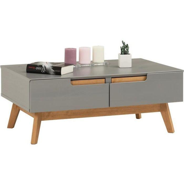 Table Basse Tibor Style Scandinave Design Vintage Nordique Table De Salon Rectangulaire 2 Tiroirs 2 Niches En Pin Massif Lasure Gris