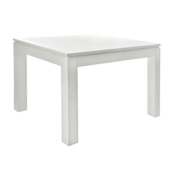 Table carr e blanche avec rallonge table de lit for Table carree avec rallonge