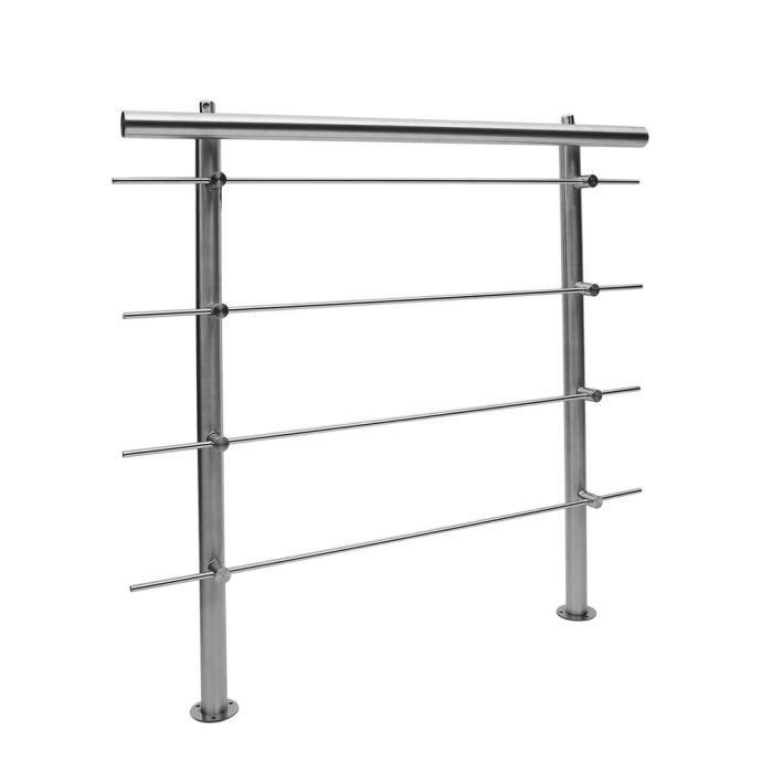 Rampe d/'escalier Acier inoxydable 5 Tiges 100 cm Rambarde Main Courante Balustrade