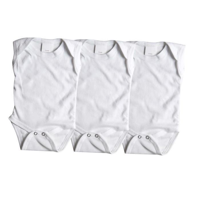 BODY Lot de 3 bodies débardeur 100% coton - blanc - béb